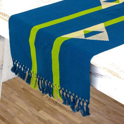 Cotton table runner, 'Paths Across the Sky' - Modern Blue and Green Handwoven Cotton Table Runner