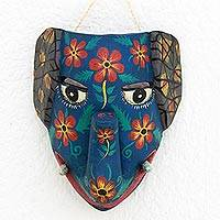 Wood mask, 'Central American Mammoth' - Guatemalan Hand Carved Floral Design Wood Mammoth Mask