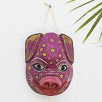 Wood mask, 'Pink Pig' - Hand Carved Guatemalan Pinewood Pink Pig Mask