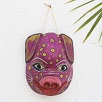 Wood mask, 'Pink Pig'