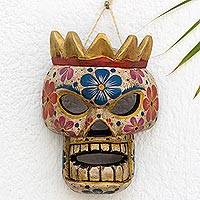 Wood mask, 'Skeleton King' - Hand Crafted Day of the Dead Artisan Pine Mask from Guatemal