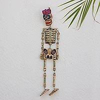 Wood wall sculpture, 'Dancing Floral Skeleton' - Day of the Dead Skeleton Wood Wall Sculpture from Guatemala