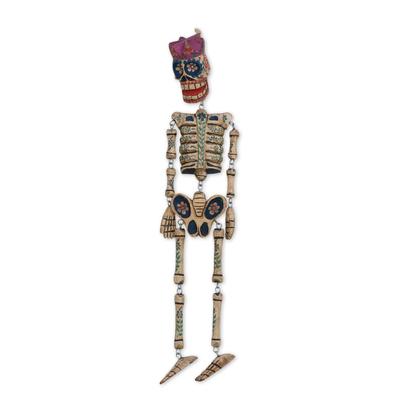 Wood wall sculpture, 'Dancing Floral Skeleton' - Day of the Dead Skeleton Wood Wall Sculpture from Guatemala