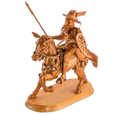 Hand Carved Wood Statuette of Don Quixote on a Horse - Quixote en ...