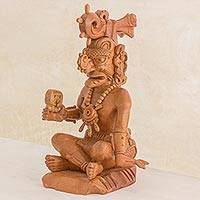 Cedar sculpture, 'Maya Sun God Ah Kin' - Hand Carved Cedar Wood Maya Sun God Sculpture