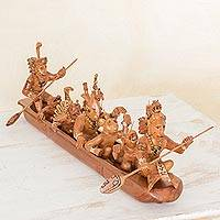 Cedar sculpture, 'Maya Quest for Maize' - Maya Quest for Maize Cedar Wood Sculpture