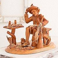 Wood and leather statue, 'Zapatero' - Hand Crafted Cedar Wood and Leather Statue of Shoemaker