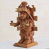 Cedar sculpture, 'Priest of Mayapan' - Guatemala Artisan Carved Maya Sculpture in Cedar