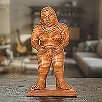 Cedar sculpture, 'Mayan Goddess' - Hand-Carved Cedar Wood Mayan Sculpture from Guatemala