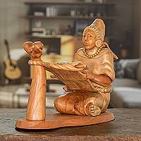 Cedar sculpture, 'Maya Woman at the Loom' - Maya Cedar Wood Sculpture of a Woman Weaving