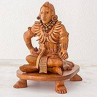Wood sculpture, 'Jaina Island Ballplayer' - Guatemala Carved Cedar Maya Ballplayer Sculpture