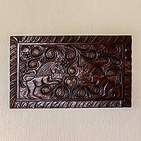 Wood wall panel, 'Guardians' - Artisan Crafted Wood Wall Relief Panel of Lions