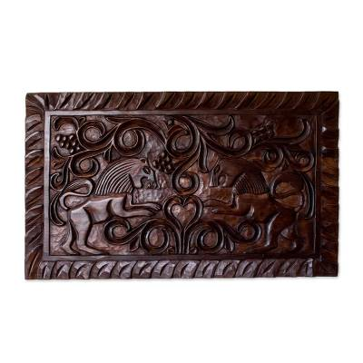 Artisan Crafted Wood Wall Relief Panel of Lions