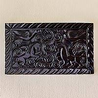 Wood wall panel, 'Equestrian Nobility' - Artisan Crafted Wood Relief Panel Featuring Birds and Horses