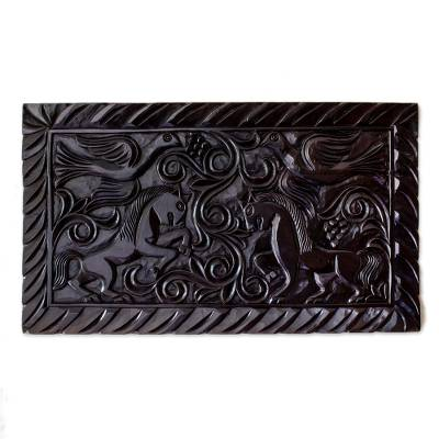 Artisan Crafted Wood Relief Panel Featuring Birds and Horses