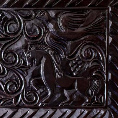 Artisan Crafted Wood Relief Panel Featuring Birds And Horses Equestrian Nobility Novica