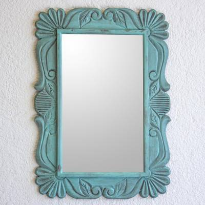 Wood wall mirror, 'Sunflower Elegance in Aqua' - Handcrafted Pinewood Floral Mirror in Aqua from Guatemala
