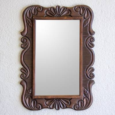 Wood wall mirror, 'Sunflower View' - Handcrafted Pinewood Floral Mirror from Guatemala