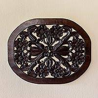 Wood wall panel, 'Floral Harmony' - Handmade Pinewood Floral Wall Panel from Guatemala