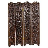 Wood folding screen, 'Harvest Moon and Sun' - Hand Carved Pine Wood Folding Screen from Guatemala