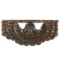 Wood shelf, 'Angel Guardian del Hogar' - Hand Crafted Guardian Angel Wood Shelf from Guatemala