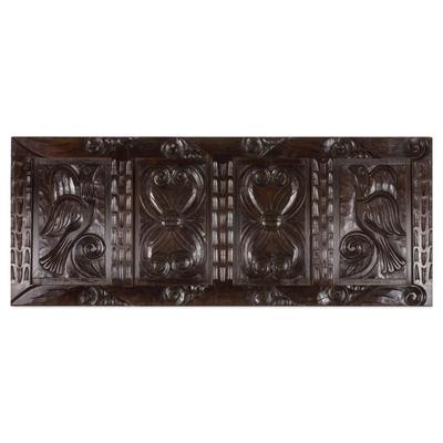 Artisan Crafted Pine Wood Wall Panel with Bird Motif