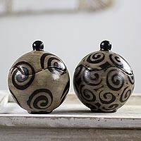 Ceramic jars, 'Shadow Snail'  (pair) - Lenca Artistry Black and Grey 5 Inch Ceramic Jars (Pair)