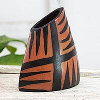 Ceramic vase, 'Rain Forest Fire' - Honduran Orange and Black Fair Trade Ceramic Vase