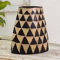 Ceramic decorative vase, 'Acatenango Volcano' - Ceramic Volcano Shaped Decorative Vase Crafted by Hand