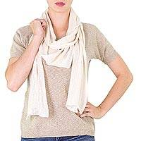 Cotton scarf, 'Ivory Nature' - Ivory Color Natural 100% Cotton Long Scarf from Guatemala