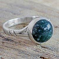 Jade ring, 'Verdant Venus' - Handcrafted Silver Single Stone Ring with Green Jade