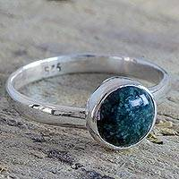 Jade ring, 'Green Antigua Moon' - Handcrafted Sterling Silver Green Jade Ring from Guatemala