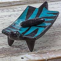 Ceramic sculpture, 'Turquoise Iguana' - Artisan Crafted Metate Sculpture of Pre-Hispanic Blue Iguana