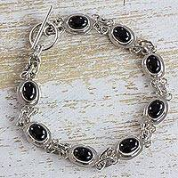 Jade link bracelet, 'Midnight Mirrors' - Black Maya Jade Handcrafted Sterling Silver Link Bracelet