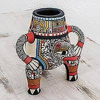 Ceramic decorative vase, 'Jaguar King' - Archaeological Replica Handcrafted Ceramic Jaguar Vase