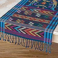 Cotton table runner, 'Turquoise Quetzal' - Fair Trade Handwoven Multicolored Turquoise Bordered 100% Co