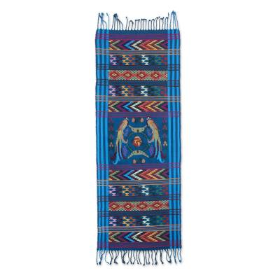 Cotton table runner, 'Turquoise Quetzal' - Handwoven Bird Theme Turquoise Cotton Table Runner