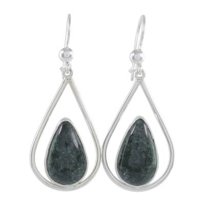Jade dangle earrings, 'Dark Green Droplet of Life' - Sterling Silver Teardrop Earrings with Dark Green Jade