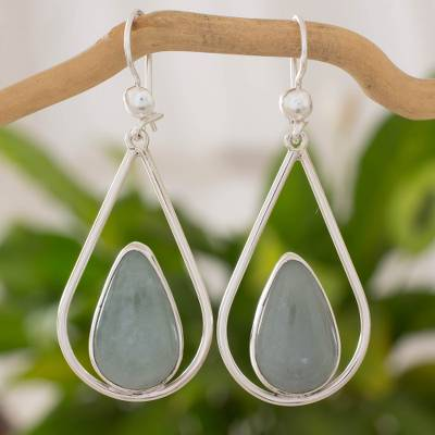 Jade dangle earrings, 'Apple Green Droplet of Life' - Teardrop Earrings with Apple Green Jade and Sterling Silver