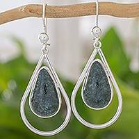 Jade dangle earrings, 'Dark Usumacinta Raindrop' - Handcrafted Guatemalan Jade and Silver Dangle Earrings