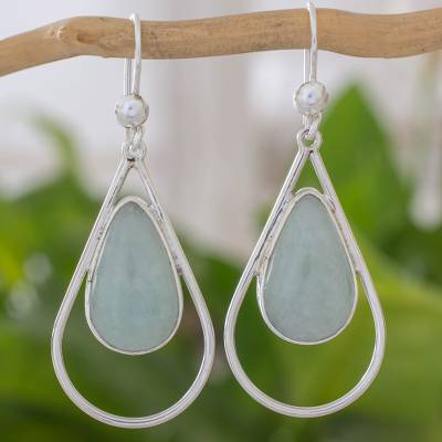 Jade dangle earrings, 'Green Usumacinta Raindrop' - Fair Trade Handcrafted 925 Sterling Silver Drop Earrings wit