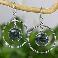 Jade dangle earrings, 'Saturn in Forest Green' - Silver 925 Contemporary Earrings with Dark Green Jade