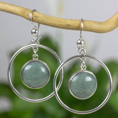 Jade dangle earrings, 'Saturn in Apple Green' - Silver 925 Contemporary Apple Green Jade Earrings
