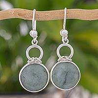 Jade dangle earrings, 'Apple Green Cantaro' - Guatemalan Light Green Jade Dangle Earrings in Silver 925