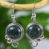 Jade dangle earrings, 'Melody in Forest Green' - Silver 925 Dangle Earrings with Forest Green Jade