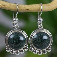 Jade dangle earrings, 'Dark Inspiration' - Silver 925 Dangle Earrings with Dark Green Jade