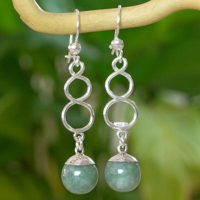 Jade dangle earrings, 'Continuous Paths' - Guatemalan Jade on Sterling Silver Hook Earrings