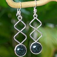 Jade dangle earrings, 'Zigzag Paths' - Sterling Silver Dangle Earrings with Dark Green Jade
