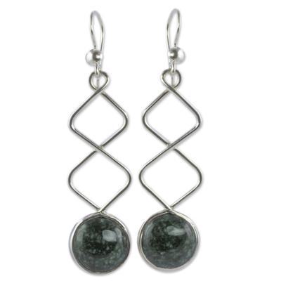 Jade dangle earrings, 'Zigzag Paths' - Sterling Silver Dangle Earrings with Dark Green Jade