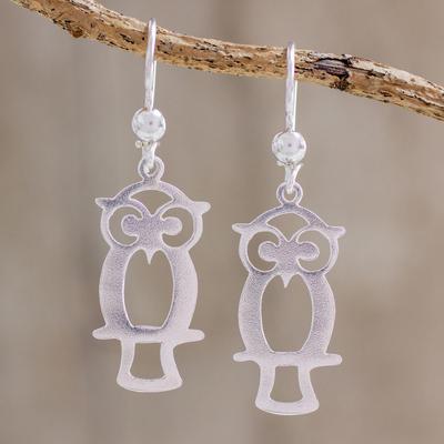 Guatemalan Sterling Silver Owl Shape Earrings, 'Maya Owl'